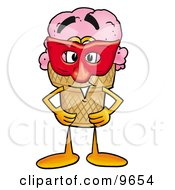 Clipart Picture Of An Ice Cream Cone Mascot Cartoon Character Wearing A Red Mask Over His Face by Toons4Biz