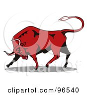 Royalty Free RF Clipart Illustration Of An Angry Red Bull Tilting His Horns