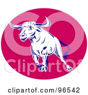 Royalty Free RF Clipart Illustration Of A Blue And White Running Bull Over A Pink Oval