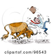 Royalty Free RF Clipart Illustration Of A Bull Attacking A Businessman From Behind