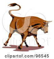 Royalty Free RF Clipart Illustration Of A Strong Brown Bull Flicking His Tail