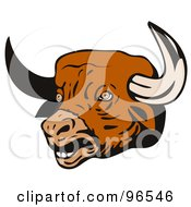 Royalty Free RF Clipart Illustration Of A Bull Head With Sharp Horns