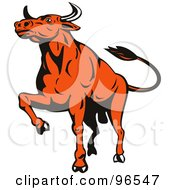 Royalty Free RF Clipart Illustration Of A Proud Muscular Orange Bull