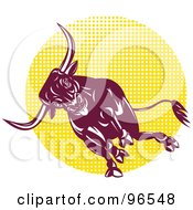 Royalty Free RF Clipart Illustration Of A Charging Bull Over A Yellow Halftone Circle