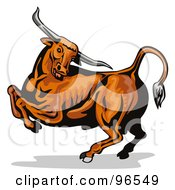 Royalty Free RF Clipart Illustration Of A Muscular Brown Bull Jumping