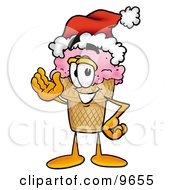 Ice Cream Cone Mascot Cartoon Character Wearing A Santa Hat And Waving