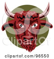 Royalty Free RF Clipart Illustration Of A Red Bull Face Over A Green Circle