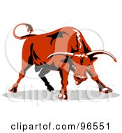 Poster, Art Print Of Tough And Aggressive Orange Bull Preparing To Charge