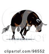 Royalty Free RF Clipart Illustration Of A Jumping Black Bull