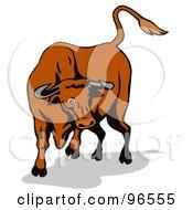 Royalty Free RF Clipart Illustration Of A Brown Bull Kicking On Leg Back