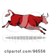 Royalty Free RF Clipart Illustration Of A Running And Leaping Red Bull