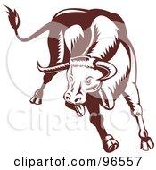 Poster, Art Print Of Brown Charging And Jumping Bull