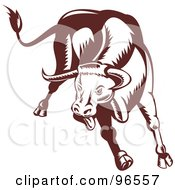 Royalty Free RF Clipart Illustration Of A Brown Charging And Jumping Bull