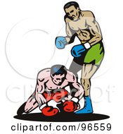 Royalty Free RF Clipart Illustration Of Boxers In A Ring 2