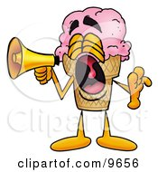 Ice Cream Cone Mascot Cartoon Character Screaming Into A Megaphone