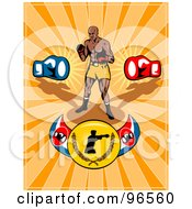 Royalty Free RF Clipart Illustration Of A Boxer On A Champion Belt Over Orange