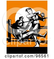 Royalty Free RF Clipart Illustration Of Boxers In A Ring 3
