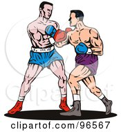 Royalty Free RF Clipart Illustration Of Boxers In A Ring 8