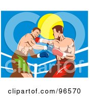 Royalty Free RF Clipart Illustration Of Boxers In A Ring 10