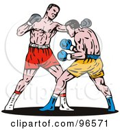 Royalty Free RF Clipart Illustration Of Boxers In A Ring 11