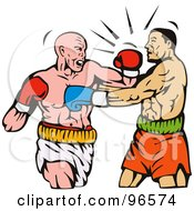 Royalty Free RF Clipart Illustration Of Boxers In A Ring 13