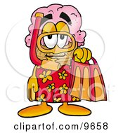 Clipart Picture Of An Ice Cream Cone Mascot Cartoon Character In Orange And Red Snorkel Gear