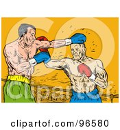 Royalty Free RF Clipart Illustration Of Boxers In A Ring 19