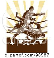 Royalty Free RF Clipart Illustration Of Boxers In A Ring 26