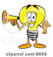 Clipart Picture Of A Light Bulb Mascot Cartoon Character Holding A Megaphone