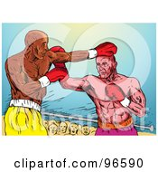 Royalty Free RF Clipart Illustration Of Boxers In A Ring 28