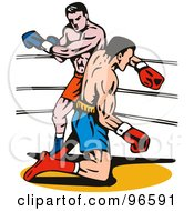Royalty Free RF Clipart Illustration Of Boxers In A Ring 29