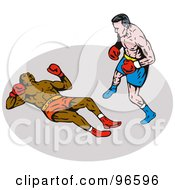 Royalty Free RF Clipart Illustration Of Boxers In A Ring 33