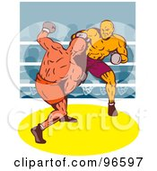 Royalty Free RF Clipart Illustration Of Boxers In A Ring 34