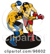 Royalty Free RF Clipart Illustration Of Boxers In A Ring 39