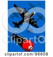 Royalty Free RF Clipart Illustration Of Military Bomber Planes Dropping Bombs by patrimonio