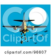 Royalty Free RF Clipart Illustration Of A Military Bomber Plane Releasing Bombs by patrimonio