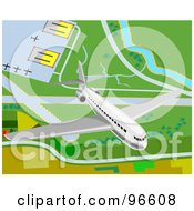 Royalty Free RF Clipart Illustration Of A Commercial Airliner Taking Off From An Airport 1