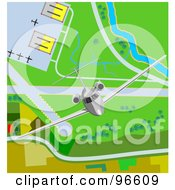 Royalty Free RF Clipart Illustration Of A Commercial Airliner Taking Off From An Airport 2