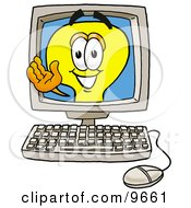 Clipart Picture Of A Light Bulb Mascot Cartoon Character Waving From Inside A Computer Screen