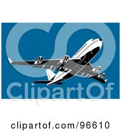 Royalty Free RF Clipart Illustration Of A Commercial Airplane In Flight 1