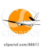 Royalty Free RF Clipart Illustration Of A Commercial Airplane In Flight 2
