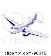 Royalty Free RF Clipart Illustration Of A Commercial Airplane In Flight 3