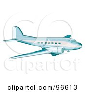 Royalty Free RF Clipart Illustration Of A Commercial Airplane In Flight 4
