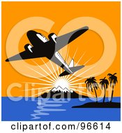 Royalty Free RF Clipart Illustration Of A Commercial Airplane In Flight 5