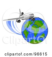 Royalty Free RF Clipart Illustration Of A Commercial Airplane In Flight 6 by patrimonio