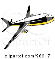 Royalty Free RF Clipart Illustration Of A Commercial Airplane In Flight 8