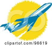 Royalty Free RF Clipart Illustration Of A Commercial Airplane In Flight 10