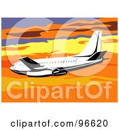 Royalty Free RF Clipart Illustration Of A Commercial Airplane In Flight 11
