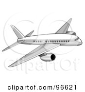 Royalty Free RF Clipart Illustration Of A Commercial Airplane In Flight 12