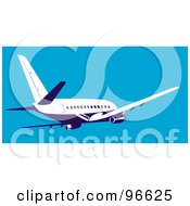 Royalty Free RF Clipart Illustration Of A Commercial Airplane In Flight 16